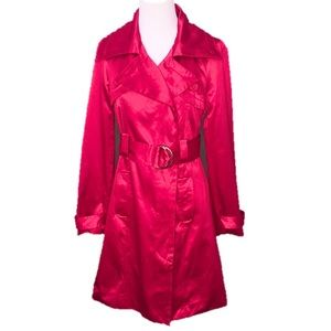 Bebe Fuscia Pink Satin Belted Trench Coat